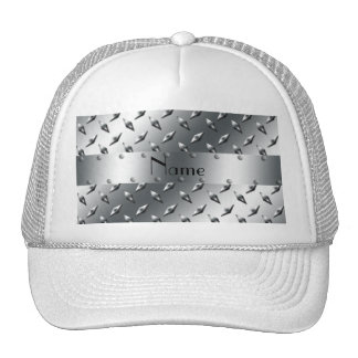 Personalized with your name diamond plate steel mesh hats