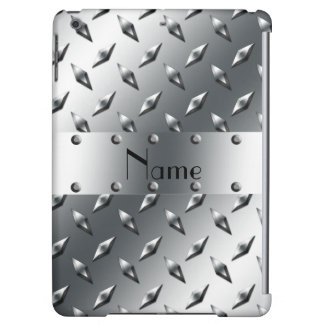 Personalized with your name diamond plate steel iPad air cases