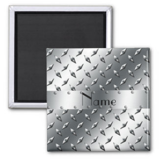 Personalized with your name diamond plate steel magnet