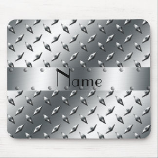 Personalized with your name diamond plate steel mouse pad