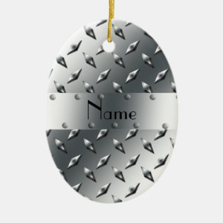 Personalized with your name diamond plate steel christmas tree ornaments