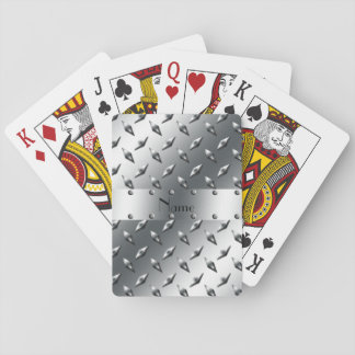 Personalized with your name diamond plate steel playing cards