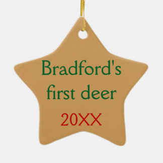 Personalized with your text Deer in the Mist Ceramic Ornament