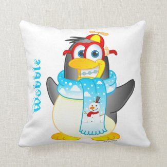 Personalized Wobble Penguin Cartoon Pillow