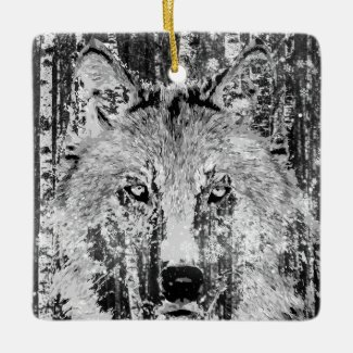 Personalized Wolf and Birch Bark Happy Holidays Ceramic Ornament