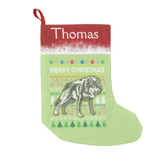 Personalized Wolf Wildlife Ugly Christmas Sweater Small Christmas Stocking