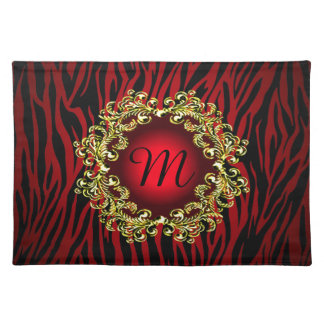 Personalized Women's Mens Luxurious Red Black Gold Placemat