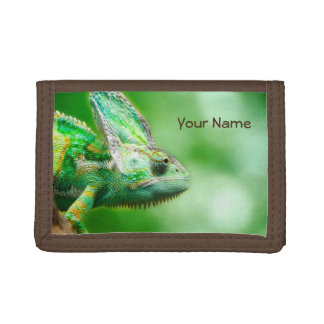 Personalized Wonderful Green Reptile Chameleon Tri-fold Wallet