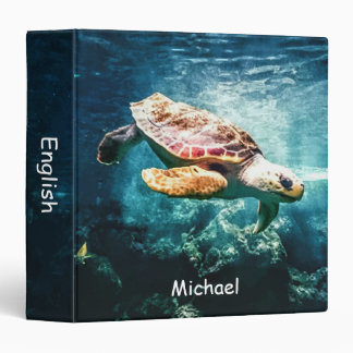 Personalized Wonderful Sea Turtle Ocean Life Binder