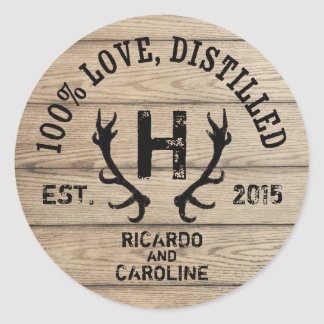 Personalized Wood Bourbon Barrel Wedding Monogram Classic Round Sticker