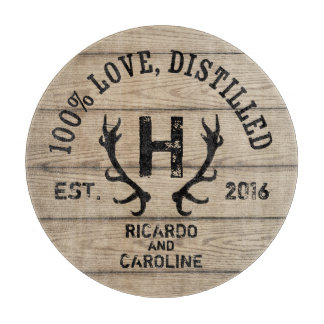Personalized Wood Bourbon Barrel Wedding Monogram Cutting Board