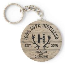 Personalized Wood Bourbon Barrel Wedding Monogram Keychain