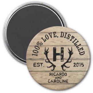 Personalized Wood Bourbon Barrel Wedding Monogram 3 Inch Round Magnet