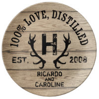 Personalized Wood Bourbon Barrel Wedding Monogram Porcelain Plate