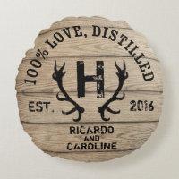 Personalized Wood Bourbon Barrel Wedding Monogram Round Pillow