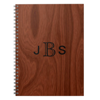 Personalized Wood Look | Monogrammed Initials Notebook