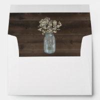 Personalized Wood, Mason Jar, Baby's Breath Liner Envelope