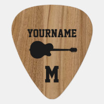 personalized wood monogram guitar pick