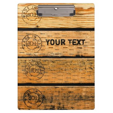 """USA Themed Personalized Wood Planks Stamped w """"Made in USA"""" Clipboard"""