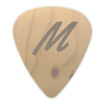 Personalized Wood Texture Rustic Acetal Guitar Pick by mixedworld at Zazzle
