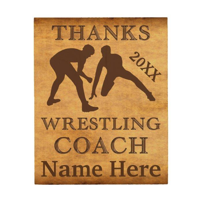 Personalized Wood Wall Decor : Personalized wood wall art wrestling coach gifts zazzle
