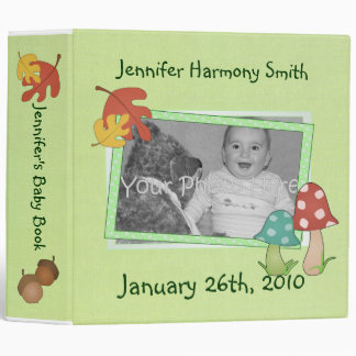 Personalized Woodland Baby Book Vinyl Binder
