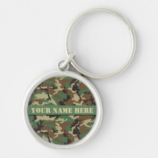 Personalized Woodland Camo Circular Keychain