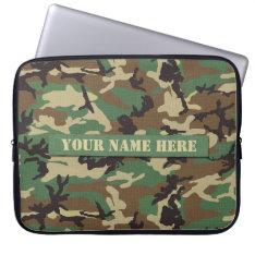 Personalized Woodland Camouflage Laptop Sleeve at Zazzle