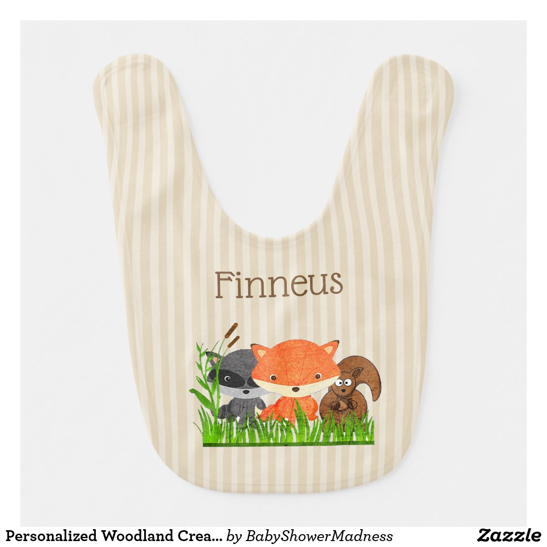 Personalized Woodland Creature Baby Boy Bib