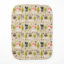 Personalized Woodland Creatures Baby Burp Cloth
