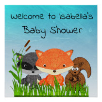 Personalized Woodland Creatures Baby Shower Poster