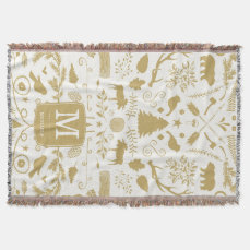 Personalized Woodland Holiday Throw Blanket