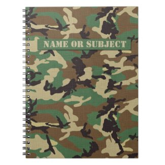 Personalized Woodland Military Camouflage Notebook
