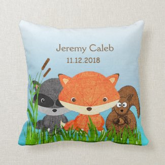 Personalized Woodlands Animals Fox Throw Pillow