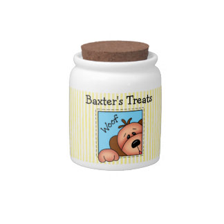 "Personalized ""Woof"" Doggy Treats Jar Candy Jars"
