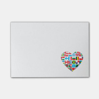 Personalized World Flags with Heart Shape Post-it Notes