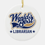 Personalized Worlds Best Librarian Gift Double-Sided Ceramic Round Christmas Ornament