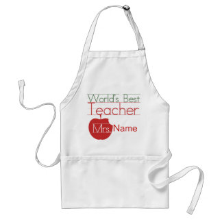 Personalized Worlds Best Teacher Adult Apron