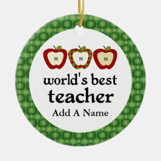 Personalized Worlds Best Teacher Apple Gift Ceramic Ornament