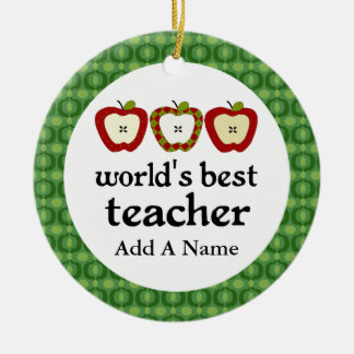 Personalized Worlds Best Teacher Apple Gift Double-Sided Ceramic Round Christmas Ornament