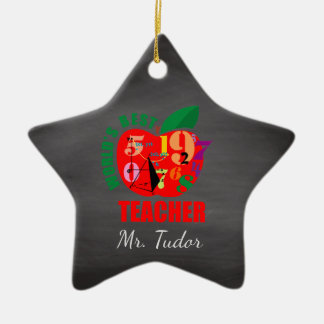 Personalized World's Best Teacher Apple | Math Ceramic Ornament