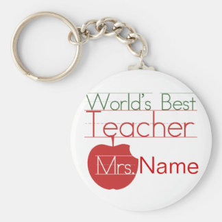 Personalized Worlds Best Teacher Basic Round Button Keychain