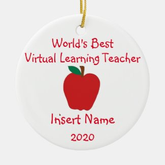Personalized World's Best Virtual Learning Teacher Ceramic Ornament