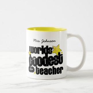 Personalized Worlds' goodest teacher Two-Tone Coffee Mug