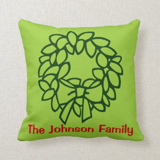 Personalized Wreath Christmas  Pillow