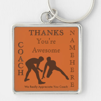 PERSONALIZED Wrestling Gifts for Coaches Silver-Colored Square Keychain
