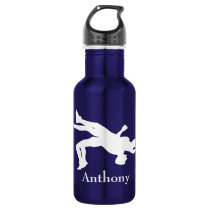 Personalized Wrestling Silhouette Water Bottle