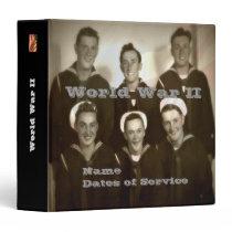 Personalized WWII Navy Veteran Photo Album 3 Ring Binder