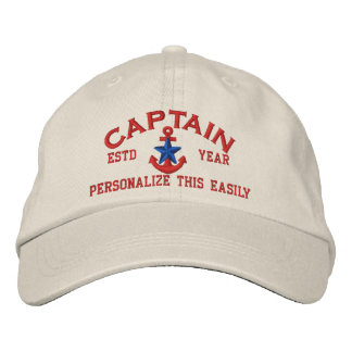 Personalized YEAR and Names Captain Blue Star Embroidered Baseball Hat