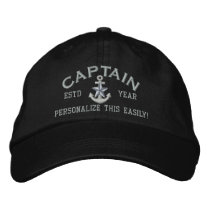 Personalized YEAR and Names Captain Silver Star Embroidered Baseball Hat